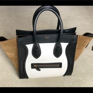 Celine Micro Luggage Tricolor Green Suede Tote